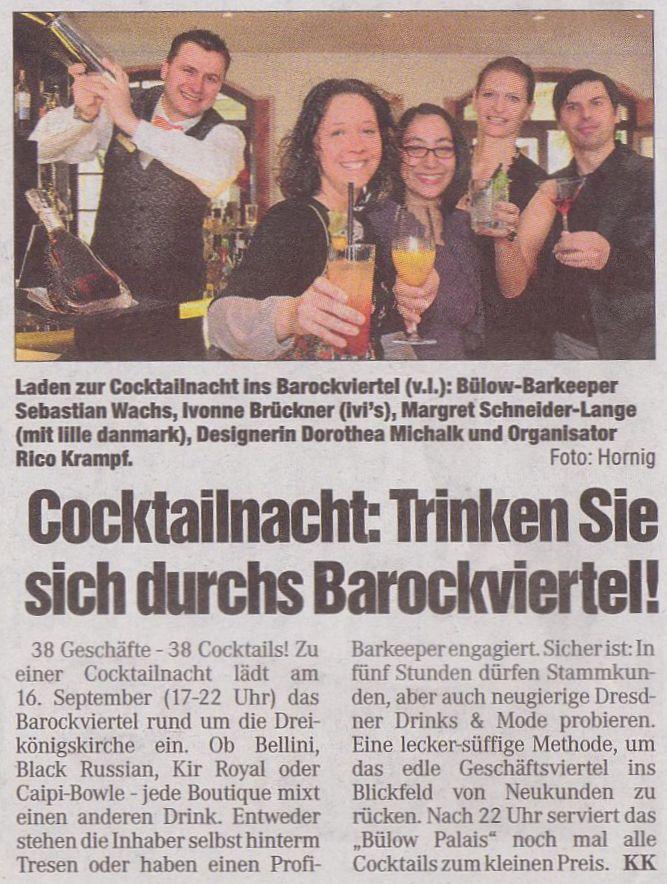 Presseartikel zur ersten Cocktail-Night, die von Geschäften des Dresdner Barockviertels organisiert und durchgeführt wurde.