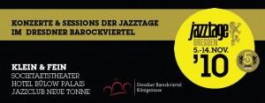 Flyer der Jazztage Dresden 2010 für die Veranstaltungen im Barockviertel.