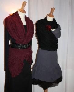 Viscosekleid mit Ballonunterrock und Tüchern, die man in verschiedenen Varianten benutzen kann