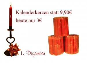 Mittwoch den 1.12.2010 erhältst Du 24 Kalenderkerzen von Ib Laursen für 3 Euro statt 9,90 Euro.