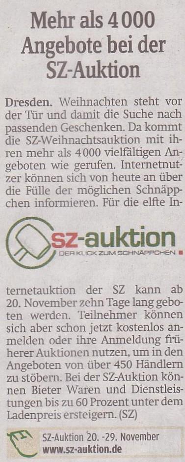 Die Auktion der Sächsischen Zeitung startet am 20.11.2010 und endet am 29.11.2010