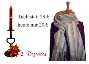 Im zweiten Türchen des Julekalenders befindet sich ein um 31% reduziertes Tuch von Two-Danes.