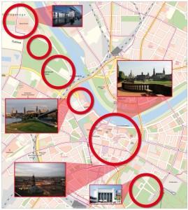 Die Hauptveranstaltungen finden in den rot umrahmten Kreisen südlich der Elbe statt.