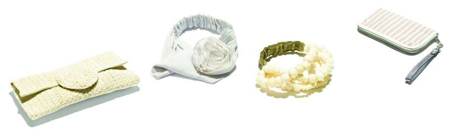 Für den Strandbummel die wichtigsten Accessoires, um sich von der Menge abzuheben: Ein Blumen-Stirnband und ein chice Handtasche von Noa-Noa.