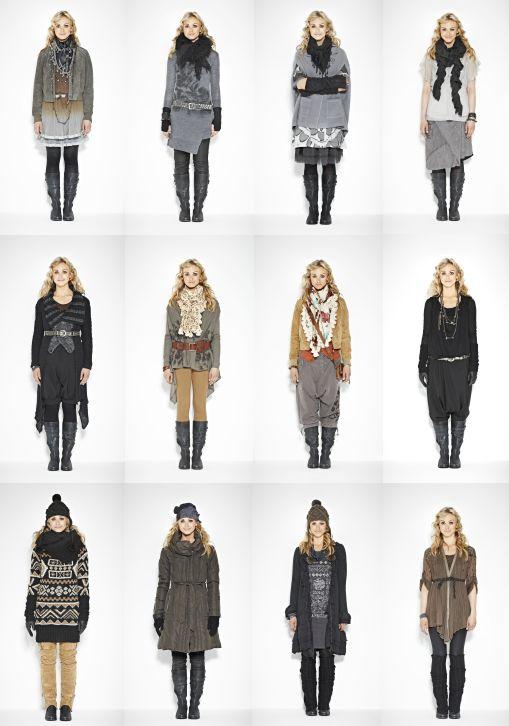 Das Lookbook bietet eine Vielzahl an Kombinationen von Hosen, Kleidern, Tunikas, Jacken, Tops und Strickjacken.