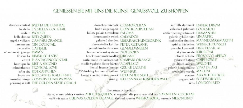 Insgesamt 51 verschiedene Cocktails werden zur 2. Cocktail-Night im Dresdner Barockviertel angeboten.