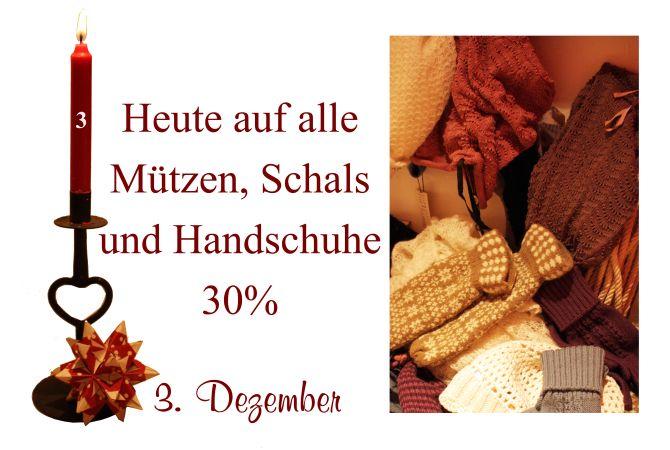 Alle Mützen, Schals und Handschuhe aller Labels (Noa-Noa, Container, Two-Danes, Nü by Staff-Woman) sind am Samstag den 3. Dezember um 30% reduziert.