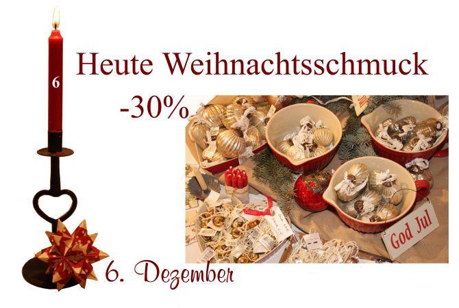 Jeglicher Weihnachtsschmuck (Christbaumkugeln, Anhänger, Sterne, Kerzen usw.) von Ib-Laursen und Lisbeth Dahl sind am 6. Dezember 2011 um 30% reduziert.