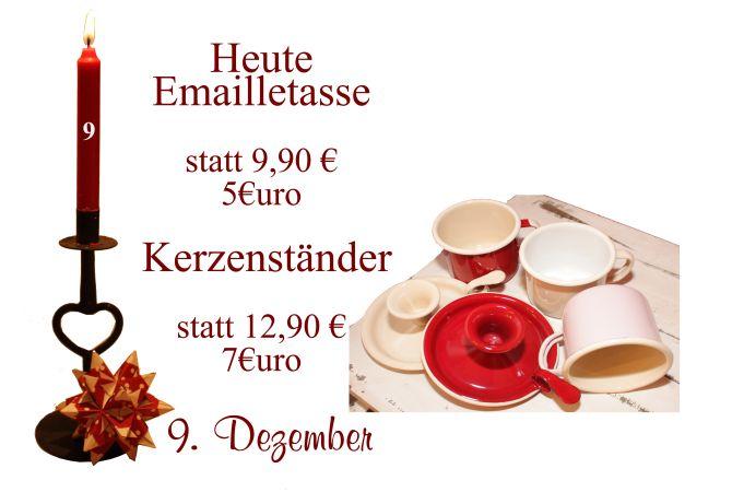 Von Ib-Laursen gibt es am Freitag den 9. Dezember Tassen aus Emaille in den Farben Rot und Creme sowie Kerzenständer.