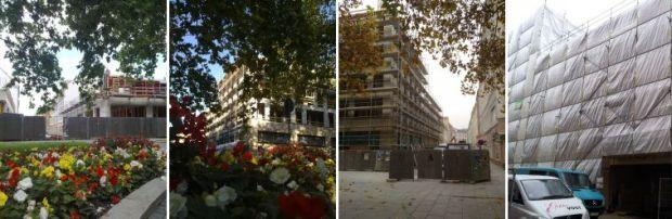 Blumige Aussichten auf den Baufortschritt auf der Baustelle Hauptstraße Ecke Obergraben im August, Oktober, November und Dezember 2011.