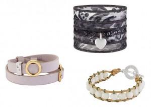 Ein Armband von Sence-Copenhagen kann ganz unterschiedlich aussehen (so wie auch die Mode). Hier zu sehen sind Armbänder aus den Materialien Leder, Baumwollen, Seide und Horn.
