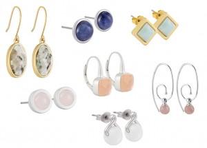 Ein Ohrring von Sence-Copenhagen passt immer zum täglichen Outfit. Hier zu sehen sind Ohrringe der Frühlings-Sommer-Kollektion 2012 mit Halb-Edelsteinen aus Lolith, Horn, Amazonit, Quarz und Aventurin.
