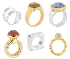 Die Ringe von Sence-Copenhagen sind mit verschiedenen Halb-Edelsteinen (hier: Amazonit, Agat, Aventurin) besetzt und weisen verschiedenen Formen (hier: rund, viereckig oder offen) und Farben auf.