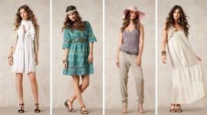 """Die Sommerkollektion """"Classic Heritage"""" 2012 von Noa-Noa belebt den klassischen Lagenlook wieder. Grundlage hierfür sind Chiffonröcke, Baumwollröcke, Oberteile in verschiedenen Längen, kurze Cardigans, Tuniken, Hemden und Jacken."""