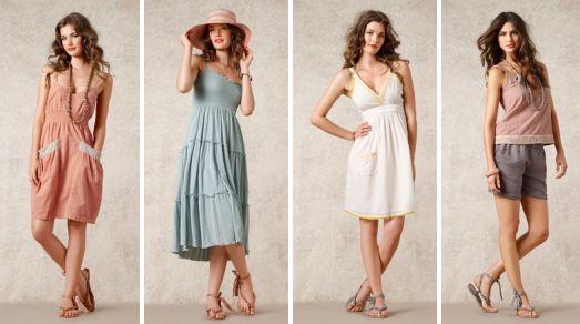 """Die Kleider, Shorts und Tops des Themas """"Cote d`Azur"""" passen zum Flair der französischen Rivera. Gefunden in der Sommerkollektion 2012 von Noa-Noa."""
