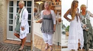"""Links: Kleid """"Asta"""" mit Unterrock in Vintage-Grün, Jacke """"Birdie Coat"""" in Romantik-Weiß sowie passendem Tuch """"Scarf Jersey"""" - Mitte: Bolero """"Maya"""" in Puder-Rose, Top """"Liva"""" in Mokka sowie Leggings """"Olivia Memelukes"""" in Romantik-Weiß - Rechts: Bolero """"Emily lace"""" in Mokka und Weiß, Top """"Marie"""" in Weiß und Vintage-Grün sowie Kleid """"Esmeralda"""" in Weiß und Vintage-Grün"""