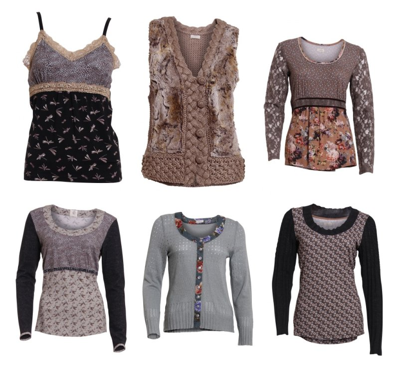 Oberer Reihe: Melissa Strap Top, Maribel Knit Vest, Muriel Blouse; Untere Reihe: Meiken Blouse, Madalena Knit Cardigan, Michaela Blouse