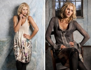 Links: 3-1989 Maibritt dress; Rechts: 1-2104 Mikka cardigan