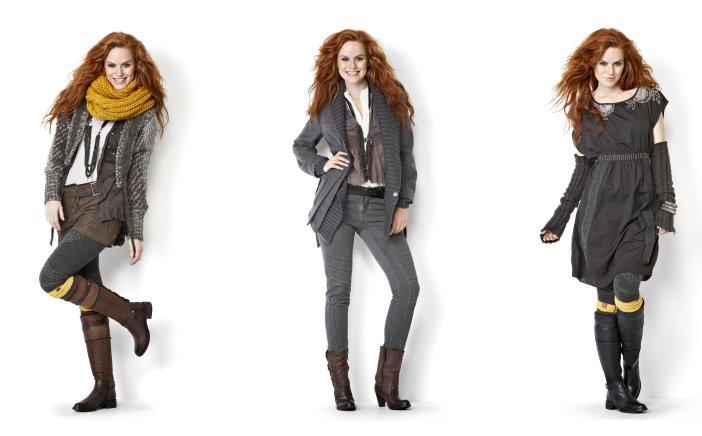 Ein kleiner modischer Einblick in das Streaming-Theme der Herbstkollektion 2012 von Nü. Kurze Hosen, Strumpfhosen, Jeans, Kleider, halbhohe und hohe Stiefel.