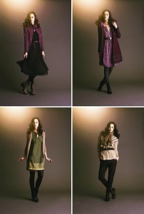 Links oben: Dress 1-1236-1, Cardigan 1-1282-1, Belt 1-1490-1, Boots 1-1324-1; Rechts oben: Dress 1-1259-1, Coat 1-1182-1, Necklace 1-1367-1, Boots 1-1326-1; Links unten: Dress 1-1383-1, Cardigan 1-1287-1, Bracelet 1-1517-1, Boots 1-1326-1; Rechts unten: Cardigan 1-1393-1, Trousers 1-1319-1, Belt 1-1487-1, Scarf 1-1395-1, Boots 1-1636-1