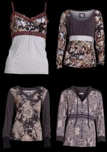 Von links oben nach rechts unten: 1. 1-2160 Nada Top; 2. 1-2201 Nolita Bluse; 3. 1-2224 Nanine Bluse; 4. 1-2232 Nicla Bluse