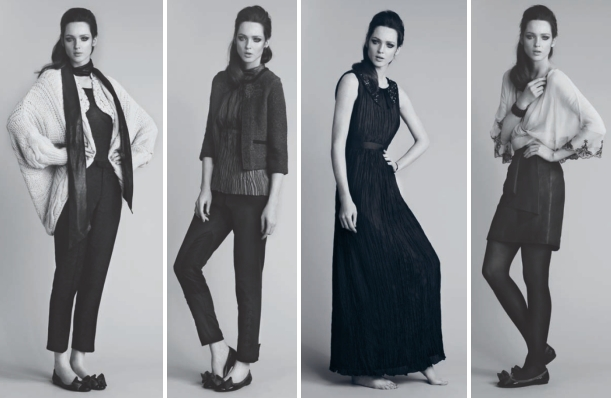 Zu sehen sind von links nach rechts: 1. t-shirt 1-0252-7, vest 1-1918-1, cardigan 1-1783-1, trousers 1-1763-1, belt-1-1907-1, ballerina 1-1983-1; 2. blouse 1-1755-1, jacket 1-1913-1, trousers 1-1736-1, earrings 1-1760-1, ballerina 1-1983-1; 3. dress 1-1754-1, bracelet 1-1803-1; 4. t-shirt 1-0252-7, blouse 1-1872-1, leather-skirt 1-1787-1, bracelet 1-1761-1, ballerina 1-1983-1