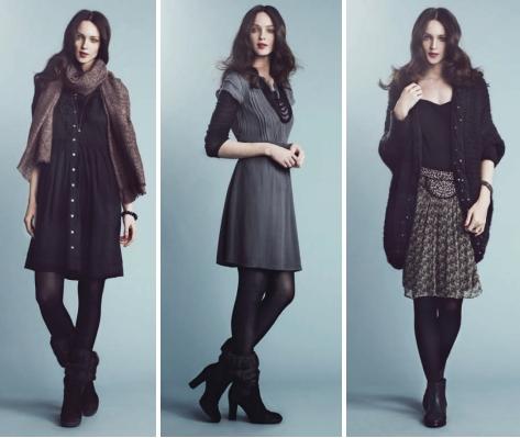 Die dargestellten Kombinationen von links nach rechts: 1. dress 1-1868-1, scarf 1-1822-1, necklace 1-1759-1, bracelet 1-1797-1, boots 1-1989-1; 2. t-shirt 1-0252-7, dress 1-1929-1, necklace 1-1956-1, boots 1-1989-1; 3. top 1-1312-4, cardigan 1-1918-1, skirt 1-1807-1, bracelet 1-1911-1, boot -1-1951-1
