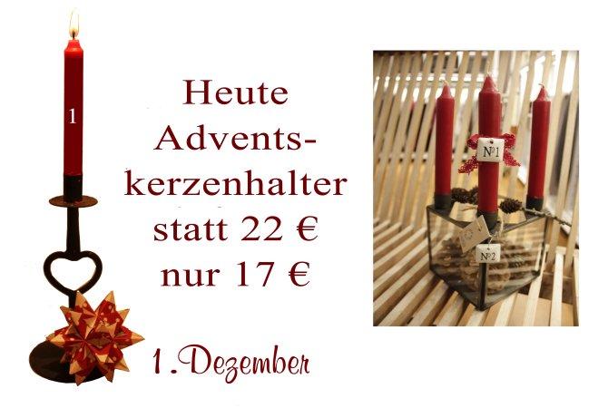 Am Samstag den 1. Dezember 2012 gibt es den Advents-Kerzenhalter (Eisengestell mit Glasscheiben - 0890-25) von Ib-Laursen, vier roten Kerzen sowie die passenden Anhängeschildchen (für jeden Advent eins) auch von Ib-Laursen (4307-11) sowie Zapfen für nur 17€ statt 22€.