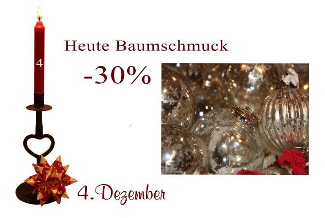 Am Dienstag den 4. Dezember 2012 ist jeglicher Christbaumschmuck von Greengate, Ib-Laursen, Lisbeth-Dahl, Chic-Antique oder Artefina um 30% reduziert.