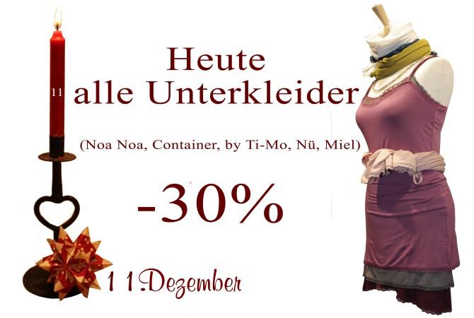 30% Rabatt auf Unterkleider von Noa-Noa, Container, By Ti-Mo, Nü by Staff-Woman und Miel by Chic-Antique gibt es am 11.12.2012.