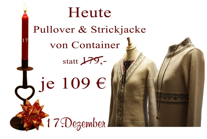 Je 109€ kosten am Montag den 17.12.2012 der Pullover Mailill sowie die Strickjacke Mannuella.