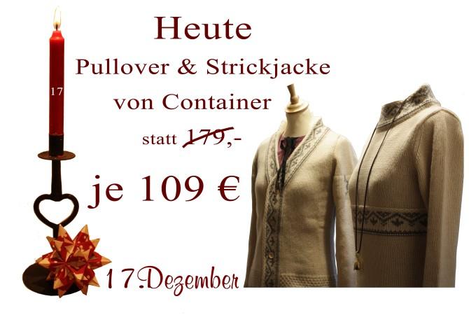 Je 109€ kosten am Montag den 17.12.2012 der Pullover Mailill sowie die Strickjacke Mannuella.