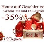 Die 19. Tür des Julekalenders offeriert einen 35%igen Rabatt auf alles Geschirr von Greengate und Ib-Laursen.