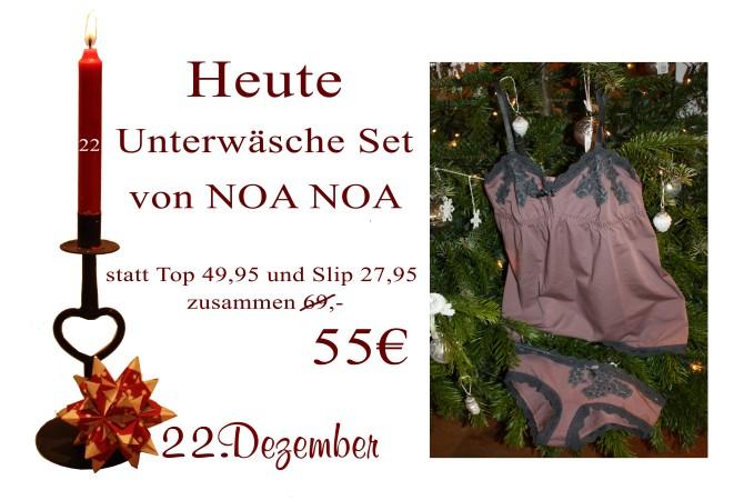 Am Samstag den 22.12.2012 gibt es das Noa-Noa Top (49,95€) sowie den Noa-Noa Slip (27,95€) zusammen für nur 55€.