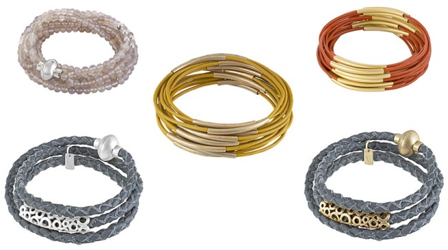 Links oben: Snake Grey Agate Rhodium (x655) Länge 54cm; Mitte: Urban Gipsy bracelet yellow worn gold (v502) aus Leder; Rechts oben: Urban Gipsy bracelet dark orange worn gold (x888) aus Leder; Unten links: Champagne bracelet worn Rhodium (v094) aus Leder; Rechts unten: Champagne bracelet worn gold (v095) aus Leder