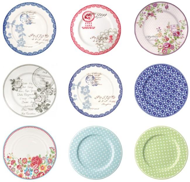 groe runde teller mit verschiedenen farben und mustern von greengate - Geschirr Muster