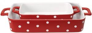 Das Auflaufform-Set ovedis10set04 von Greengate ist rot mit weißen Punkten.