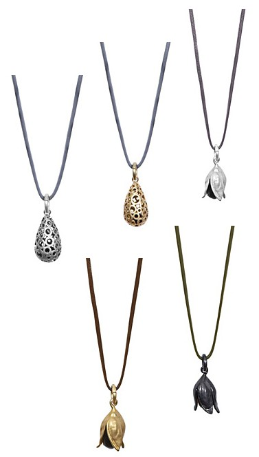 Links oben: Champagne necklace worn Rhodium (v091); Oben mitte: Champagne necklace worn gold (v092); Oben rechts: Fall necklace worn silver (v221); Unten links: Fall necklace worn gold (v222); Unten rechts: Fall necklace worn hematite (v223)