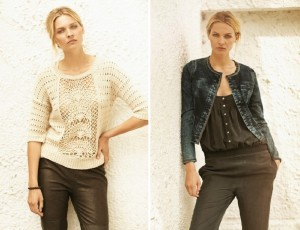 Links: Top 1-1428-1, Knit 1-2233-1, Trousers 1-2166-1, Bracelet 1-2099-1; Rechts: Bodysuit 1-2137-1, Jacket 1-2229-1