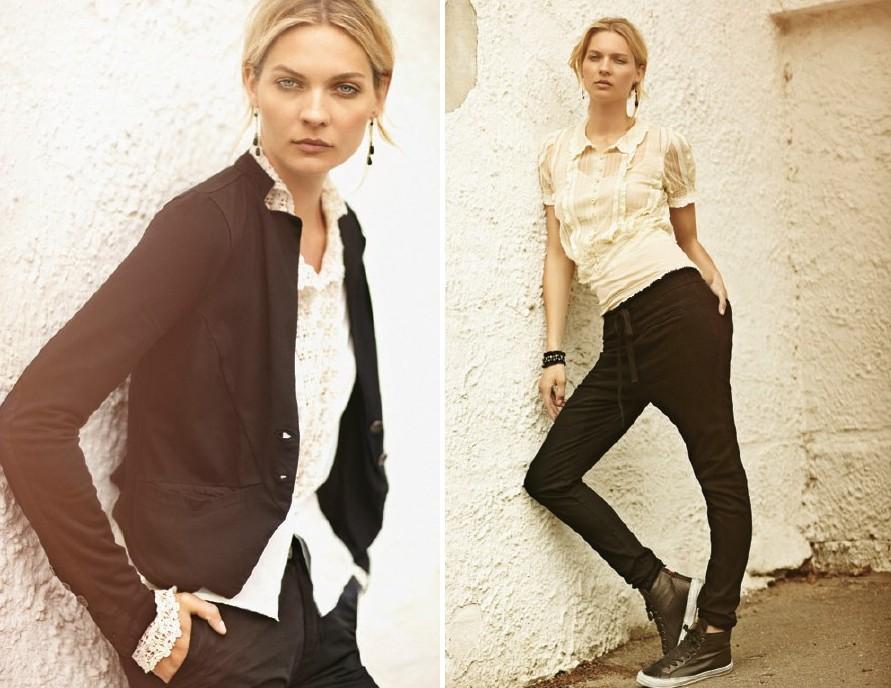 Links: Shirt 1-2191-1, Jacket 1-2226-1, Trousers 1-2088-1, Earrings 1-2105-1; Rechts: Top 1-0533-4, Shirt 1-2134-1, Trousers 1-2227-1, Earrings 1-2367-1, Bracelet 1-2109-1, Shoes 1-2253-1