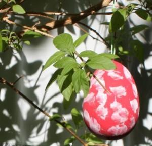 Rotes Osterei mit weißen Punkten im Frühlingssonnenschein.