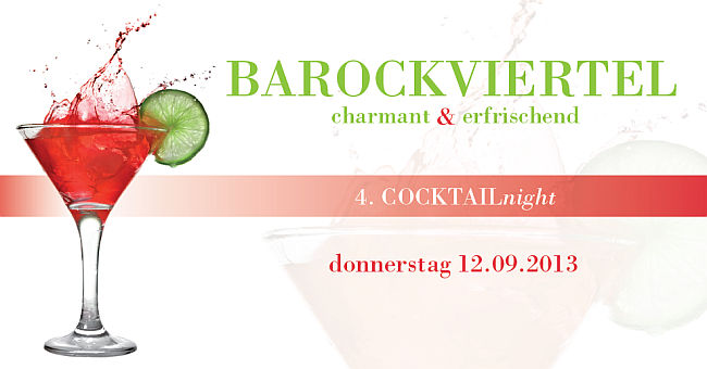 Flyer zur 4. CocktailNight am 12. September 2013 im Barockviertel Dresden