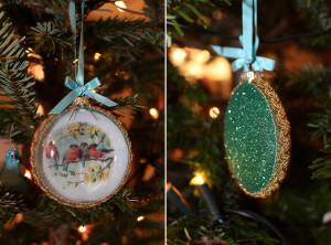 Flache Weihnachtskugel mit Spatzenmotiv von Lisbeth-Dahl