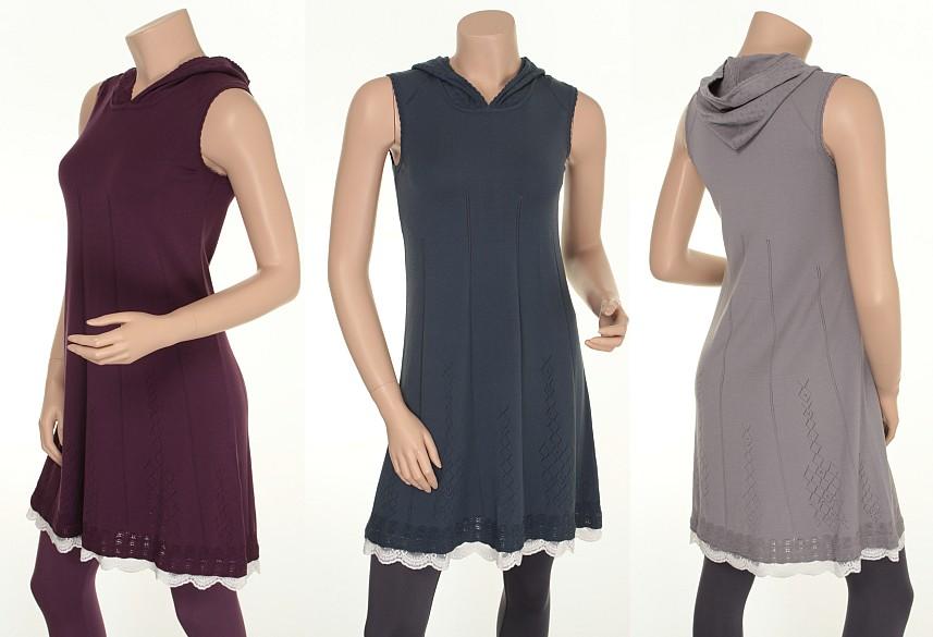 Kapuzenkleid Knitwear Maja (24-049) von Sorgenfri Sylt in den Farben Aubergine, Night und Cool Grey