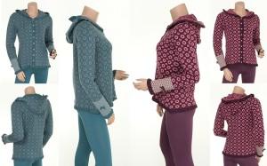 Kapuzenpullover oder -Jacke Knitwear Gittchen (24-056) von Sorgenfri Sylt in den Farben Petrol und Aubergine