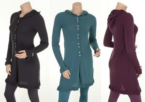 Kapuzenstrickjacke Knitwear Inge (24-063) von Sorgenfri Sylt in den Farben Charcoal, Petrol und Aubergine
