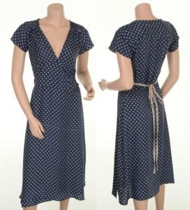 UndHuebsch: Blaues Kleid mit weißen Punkten aus 100% Seide (H-48)