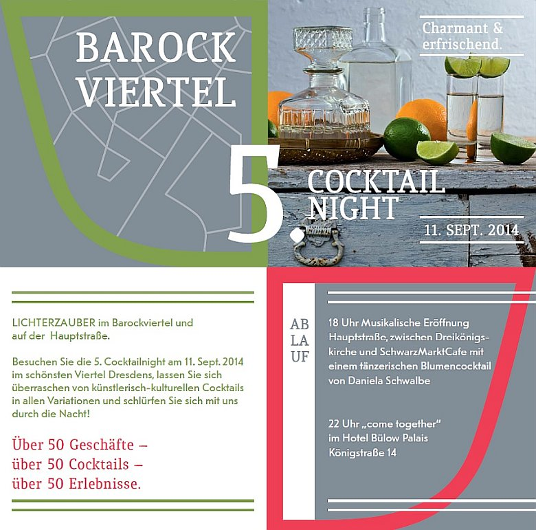 Flyer zur 5. Cocktailnight im Barockviertel Dresden