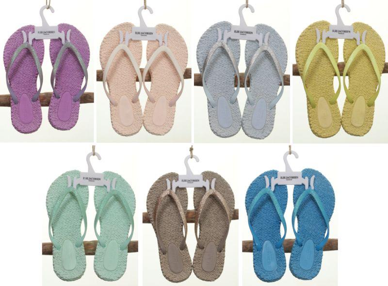 Neue Farben für die Cheerful Flip-Flops: Mullberry, Rose, Halogen Blue, Sunny Lime, Dusty Aqua, Atmosphere und Lake Blue