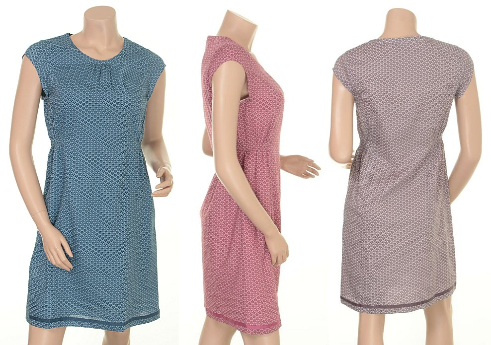 Kleid Elma 15-004 in den Farben Ocean, Wild Rose und Pearl Grey